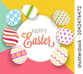 painted easter eggs on colorful ... | Shutterstock .eps vector #1042476472