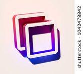 white clone icon. 3d... | Shutterstock . vector #1042478842