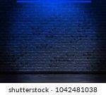 Brick Wall Background Neon Light - Fine Art prints