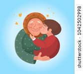 grandmother with grandson... | Shutterstock .eps vector #1042502998