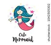 cute magic summer magic mermaid ... | Shutterstock .eps vector #1042505302