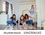 a group of friends play in...   Shutterstock . vector #1042506142