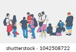 illustration of people waiting... | Shutterstock .eps vector #1042508722