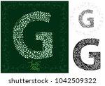letter g from made of leaves ... | Shutterstock .eps vector #1042509322