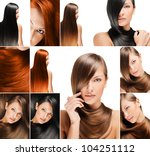 fashion hairstyle collage  ... | Shutterstock . vector #104251112