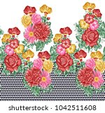 colorful flower border painted... | Shutterstock . vector #1042511608