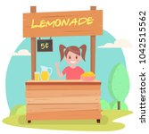 lemonade stand with fresh lemons | Shutterstock .eps vector #1042515562