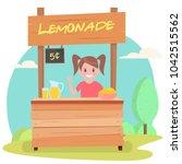 lemonade stand with fresh lemons | Shutterstock .eps vector #1042515562