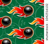 seamless pattern with bowling... | Shutterstock .eps vector #1042516132