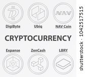 set of 6 crypto currency... | Shutterstock .eps vector #1042517515