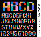 alphabet and numbers made of... | Shutterstock .eps vector #104254532