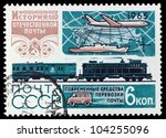 USSR - CIRCA 1965: A stamp printed in the USSR showing means of transportation, circa 1965 - stock photo