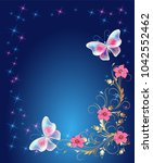 floral ornament frame with... | Shutterstock .eps vector #1042552462