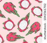 tropical exotic fruit dragon...   Shutterstock .eps vector #1042561702