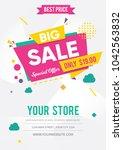 big sale poster. vector... | Shutterstock .eps vector #1042563832