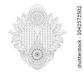 black and white asian floral... | Shutterstock .eps vector #1042572502