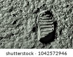 buzz aldrin's footprint on the... | Shutterstock . vector #1042572946
