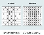 vector sudoku with answer 128.... | Shutterstock .eps vector #1042576042
