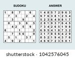 vector sudoku with answer 127.... | Shutterstock .eps vector #1042576045