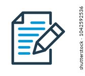 writing line icon. edit line... | Shutterstock .eps vector #1042592536