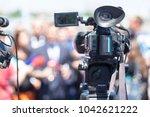 public relations   pr. filming... | Shutterstock . vector #1042621222