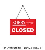 closed store sign vector | Shutterstock .eps vector #1042645636