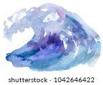 sea wave. abstract watercolor...   Shutterstock . vector #1042646422