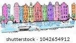 city landscape bright pattern. ... | Shutterstock . vector #1042654912
