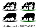 cow grazing on meadow  cow... | Shutterstock .eps vector #1042661332