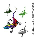 vintage gecko tattoo collection ...   Shutterstock .eps vector #1042663018