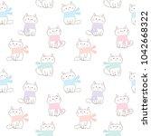 seamless pattern of cute... | Shutterstock .eps vector #1042668322