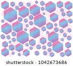 abstract colorful hexagon... | Shutterstock .eps vector #1042673686
