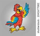 funny parrot cartoon for mascot ... | Shutterstock .eps vector #1042677082
