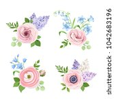 vector set of pink  blue and... | Shutterstock .eps vector #1042683196