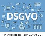 dsgvo  german version of gdpr ... | Shutterstock .eps vector #1042697536