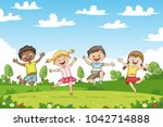 happy jumping children. funny... | Shutterstock .eps vector #1042714888