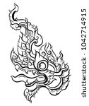 thai traditional tattoo design... | Shutterstock .eps vector #1042714915