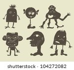 set of funky monsters