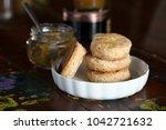 close up of homemade scones in... | Shutterstock . vector #1042721632