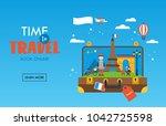 travel to paris  france concept ... | Shutterstock .eps vector #1042725598