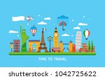 travel destination concept with ... | Shutterstock .eps vector #1042725622
