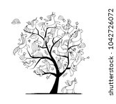 magic unicorns tree  sketch for ... | Shutterstock .eps vector #1042726072