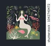 mermaid among sea life | Shutterstock .eps vector #1042740472
