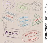 travel stamp collection pattern.... | Shutterstock .eps vector #1042740712