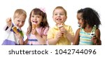 happy kids group eating ice... | Shutterstock . vector #1042744096
