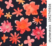seamless floral pattern with... | Shutterstock . vector #1042745836