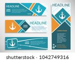 anchor icon on horizontal and... | Shutterstock .eps vector #1042749316