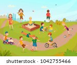 colored kids playing... | Shutterstock . vector #1042755466