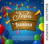 festa junina celebration... | Shutterstock .eps vector #1042759918
