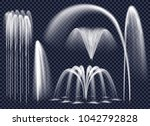 set of realistic fountains with ... | Shutterstock . vector #1042792828